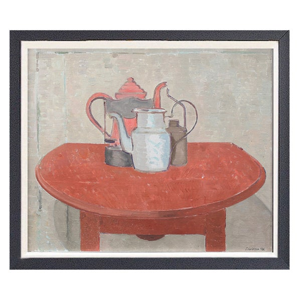 Image of Swedish Painting, 'The Red Table,' SÖLVE OLSSON