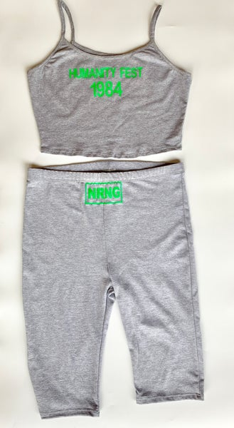 Image of Humanity fest crop and biker shorts (grey)