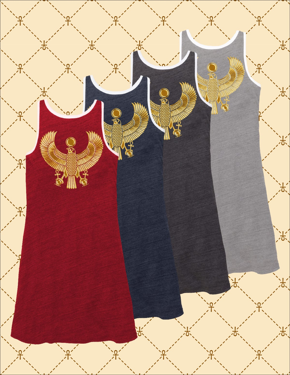 Image of NSC GOLD HRU RINGER TANK DRESS