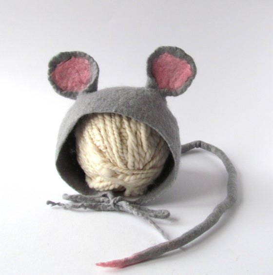 Image of Felted Newborn Hat Photoprops hat Mouse Baby Hat Infant Hat Baby mouse Newborn Girl Hat Boy hat GAL