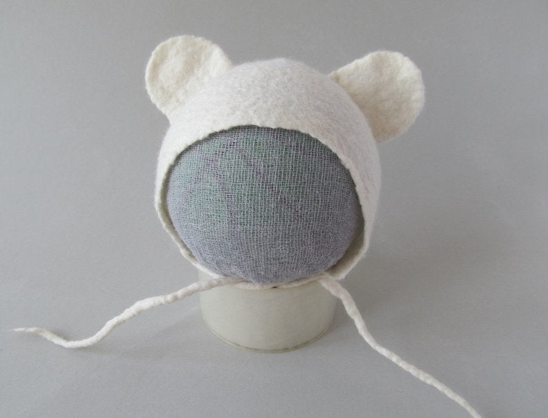 Image of Felted Newborn Hat Photoprops hat Baby Hat Infant Hat Baby White Bear Newborn Girl Hat Boy hat GAL