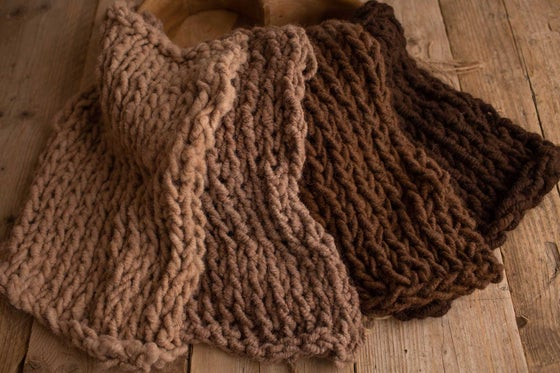 Image of Brown Toned Alpaca Rustic Knit Blankets