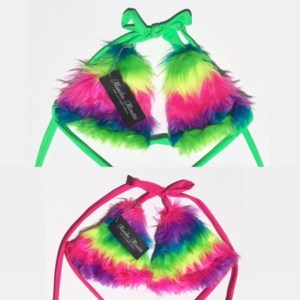 Image of Rainbow Faux Fur Rave Bikini Top *NEW COLOR OPTIONS