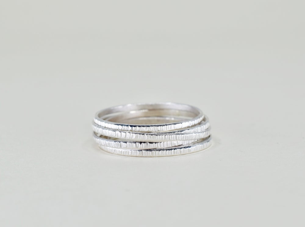 Image of Crinkle Pattern Ring in Sterling Silver