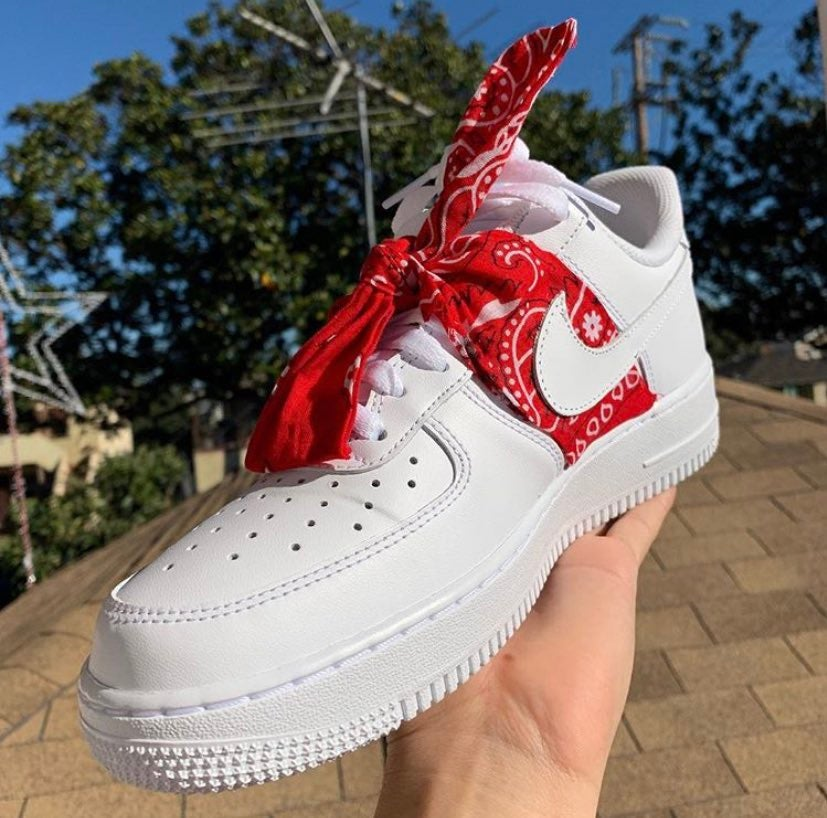 red bandana nike air force ones