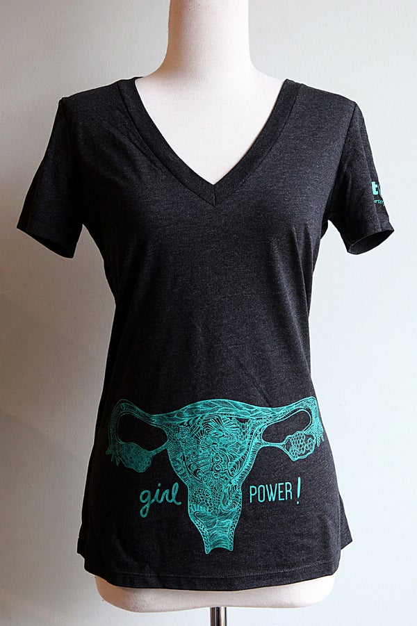 Image of Girl Power!  Uterus V-neck Women's T-shirt.