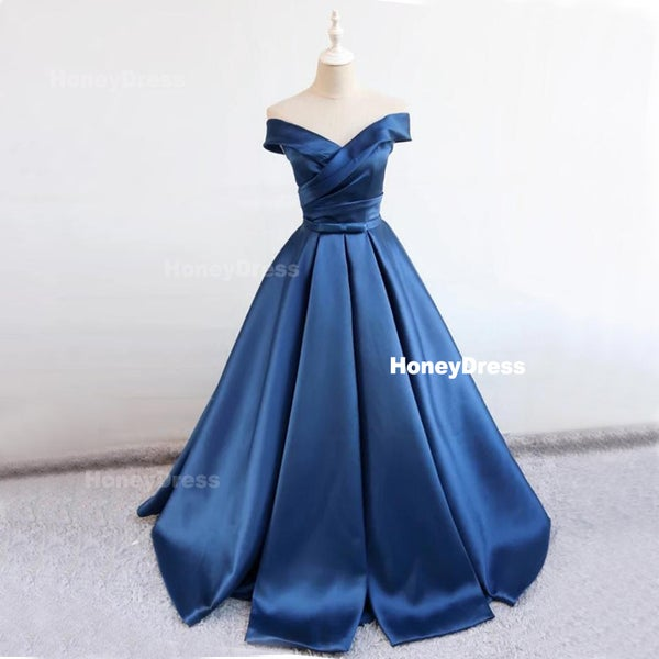 f3e5a770793 Gorgeous Off The Shoulder Ruched A-Line Blue Satin Ball Gown Evening Prom  Dress With Bowknot Belt