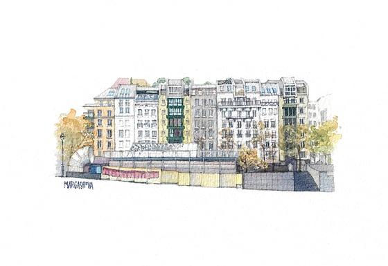 Image of Place Georges Pompidou - Paris, France | Original Watercolor | Acuarela Original