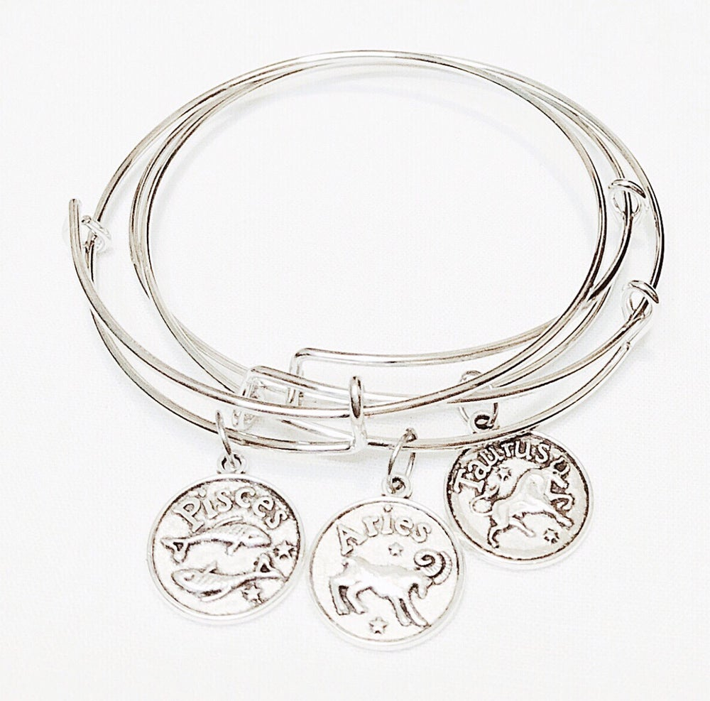 Image of Antiqued Zodiac Star Bangle