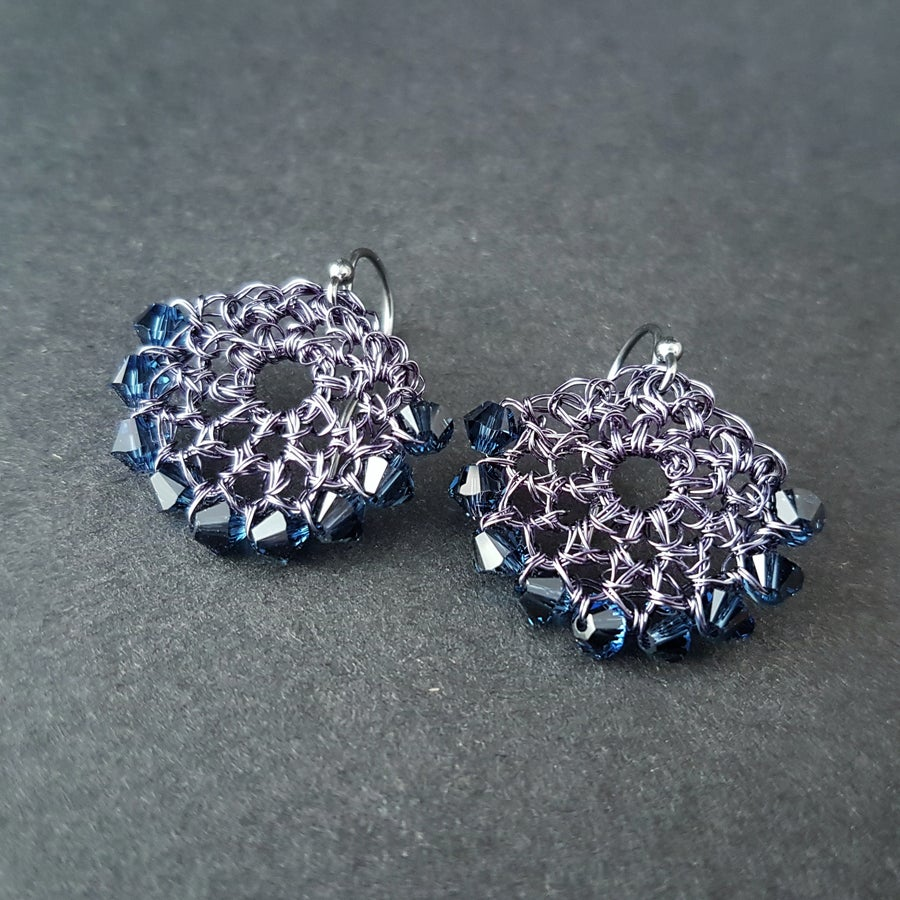 Image of CRESCENT EARRINGS - FRENCH NAVY
