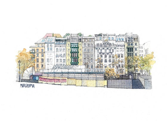 Image of Place Georges Pompidou | Print | Watercolor