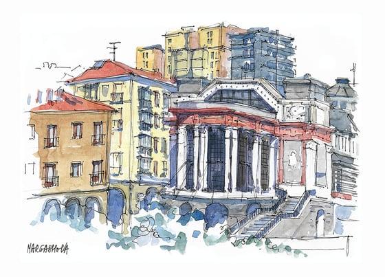 Image of Mercado de la Ribera - Bilbao, Spain | Print | Watercolor