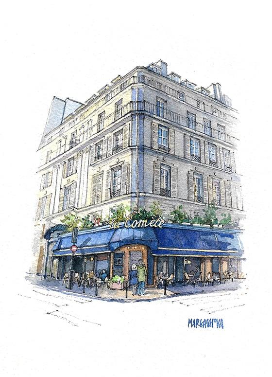 Image of La Cométe - Paris, France | Print | Watercolor