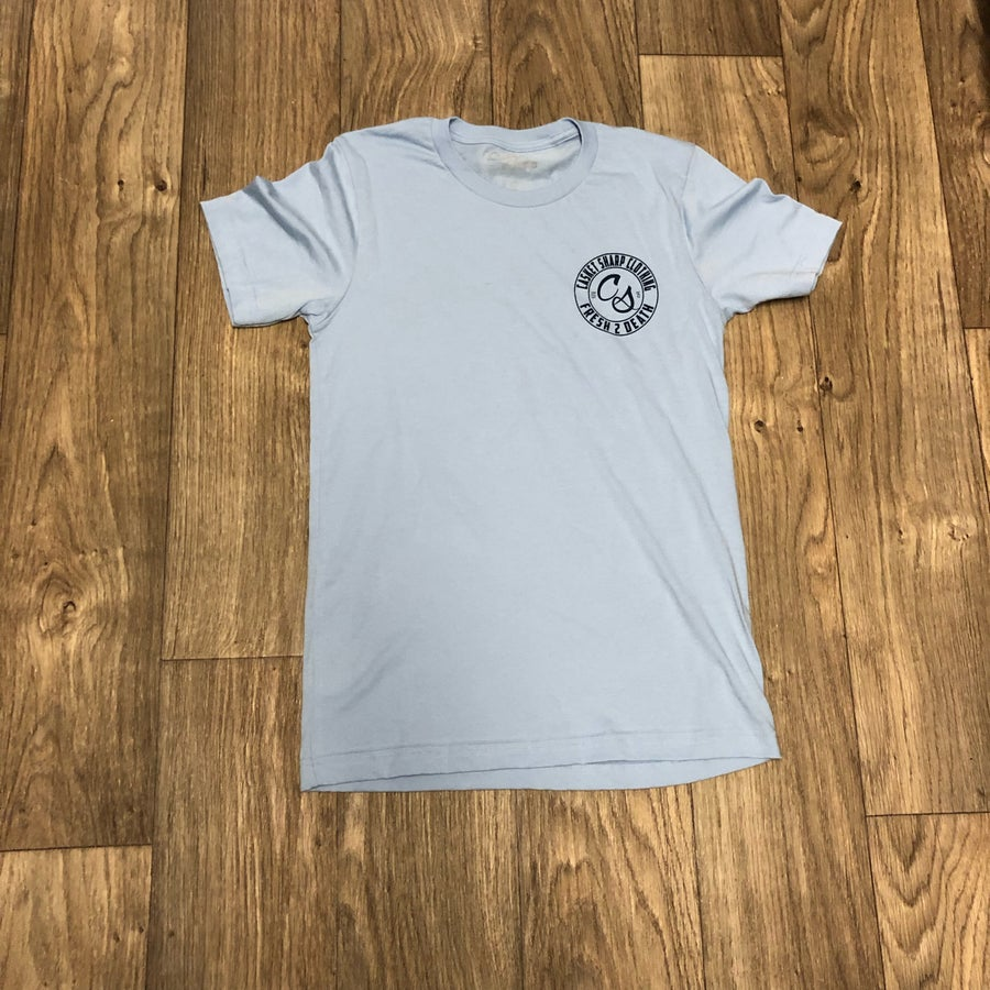 Image of Baby Blue & Navy Logo Tee