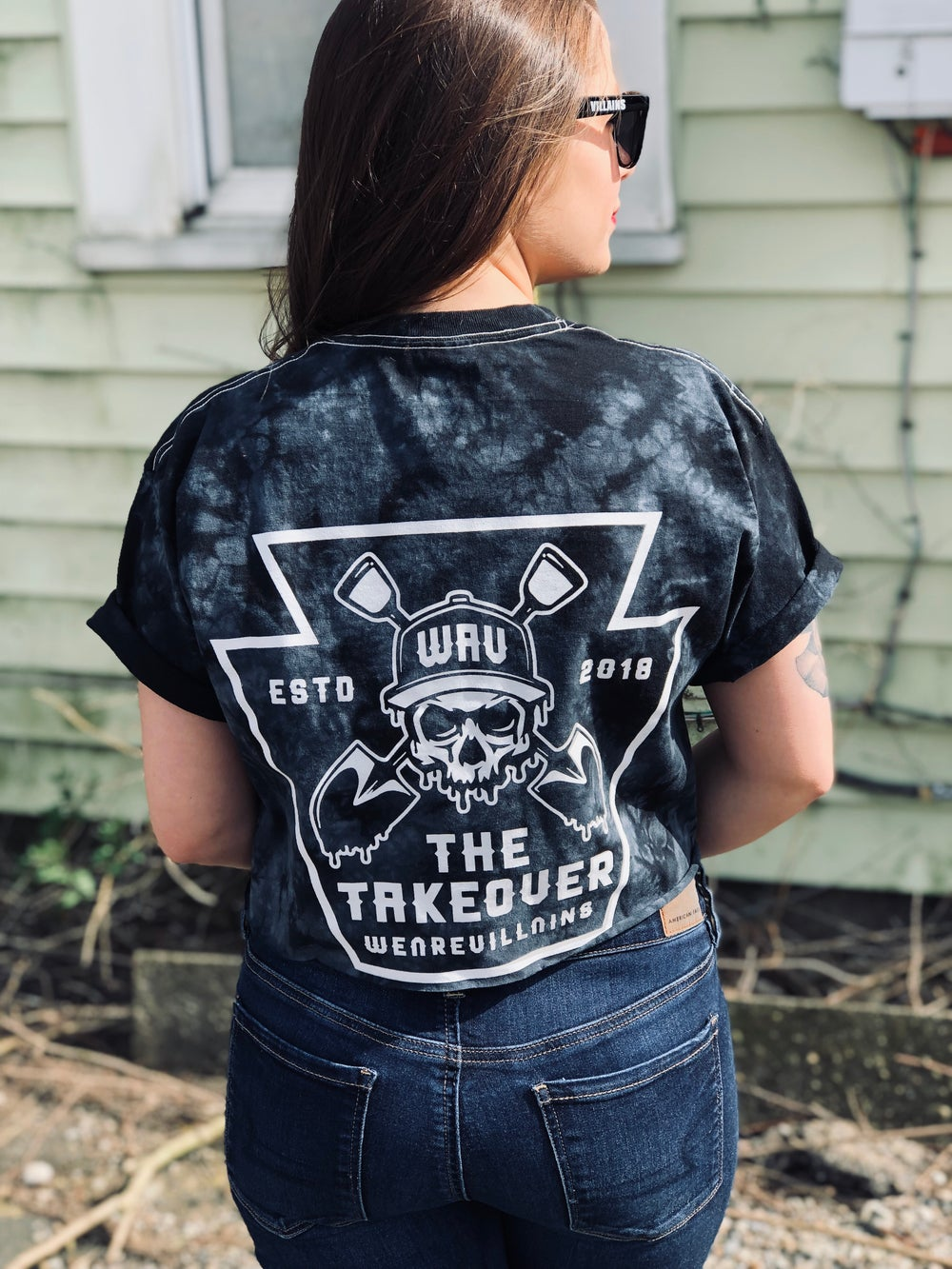 The Takeover black tie dye crop tee