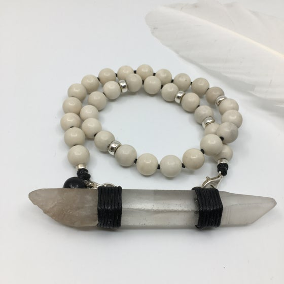 Image of Riverstone Choker 33 + Singing Lemurian Quartz