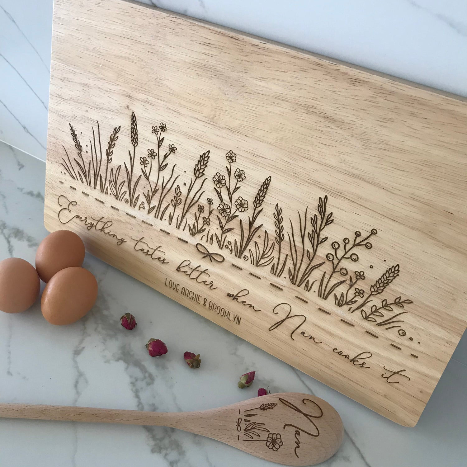 Image of Blooming Garden Chopping Board & Spoon Gift Set