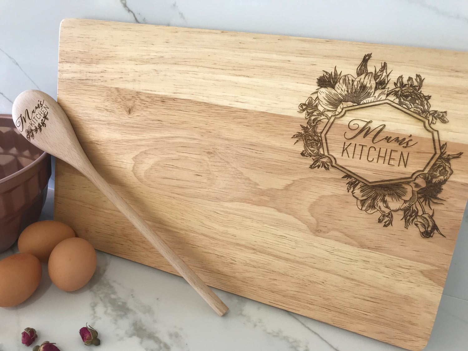 Image of Ornate Floral Chopping Board & Spoon Gift Set