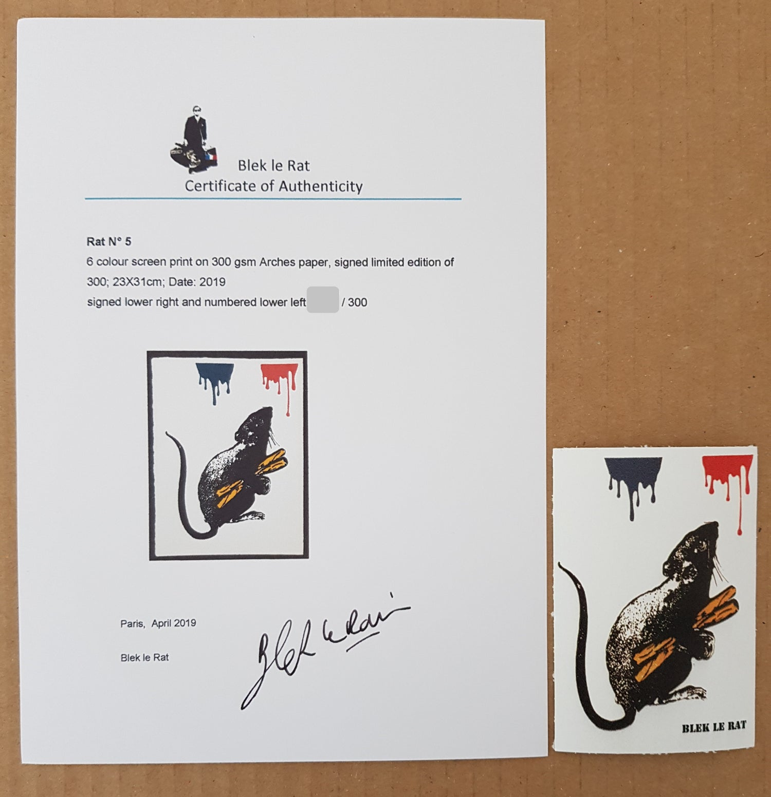 "Image of BLEK LE RAT - ""RAT NO 5"" 6 COLOUR SCREENPRINT - LTD ED 300 - 26CM X 34CM"