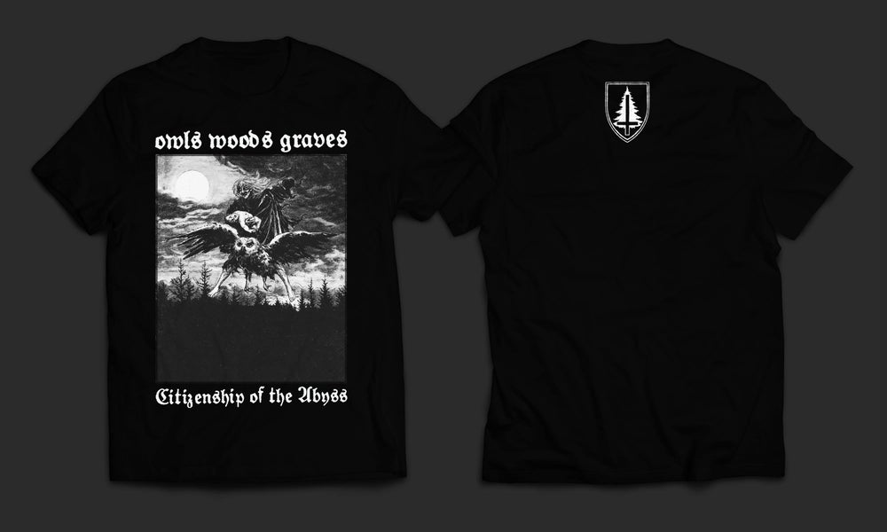 Image of OWLS WOODS GRAVES - 'Citizenship of the Abyss' men's t-shirt