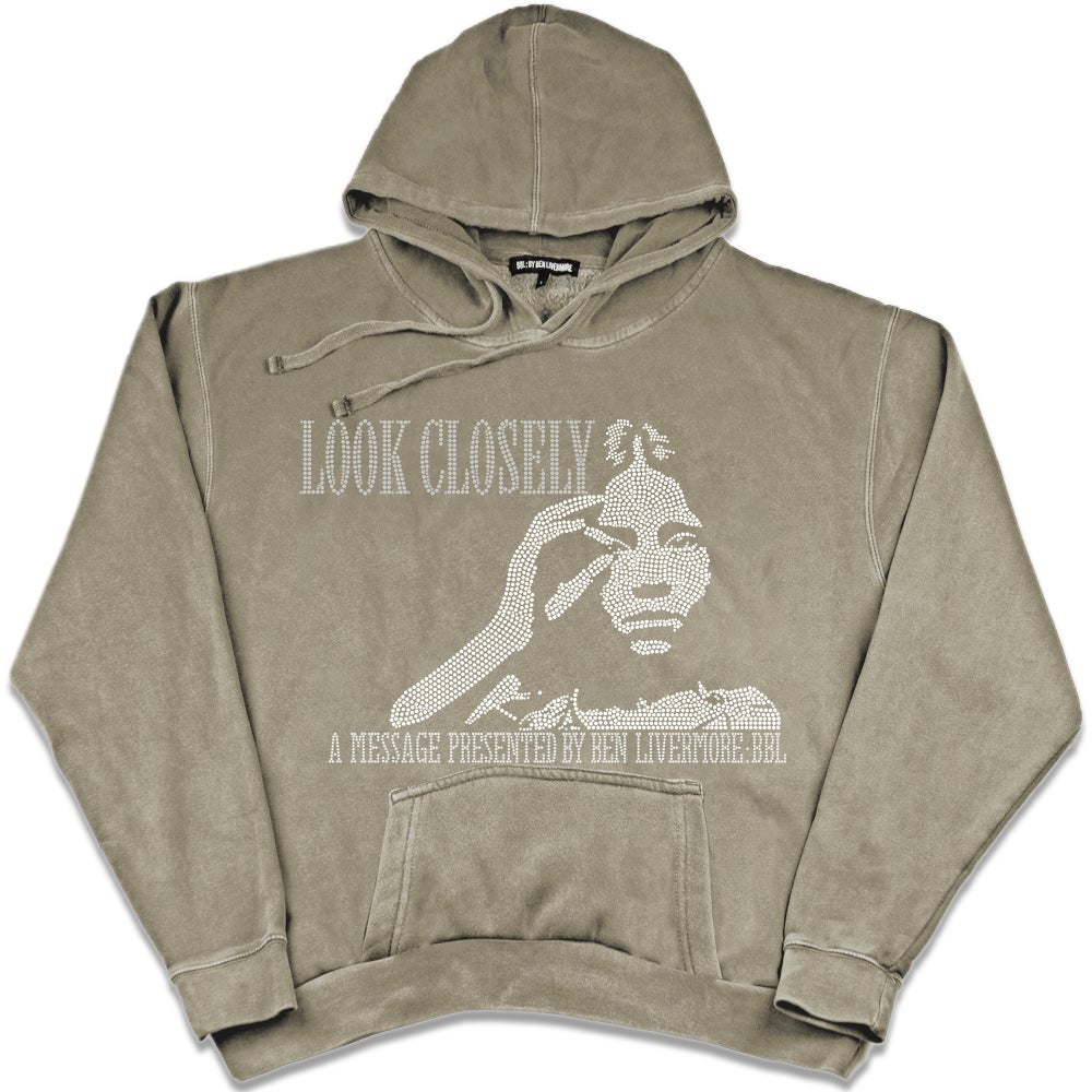 Image of Look Closely Rhinestone Hoodie (beige)