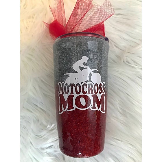 Image of Red and Silver Moto Mom Tumbler