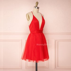 Image of Spaghetti Strap Deep V-Neck Red Tulle Party Dress, Junior Prom Dress With Criss Cross Straps