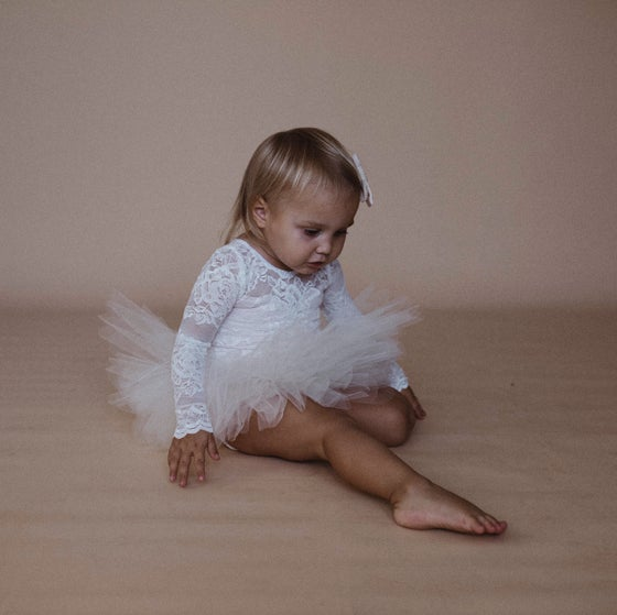 Image of Ivory lace long sleeve tutu