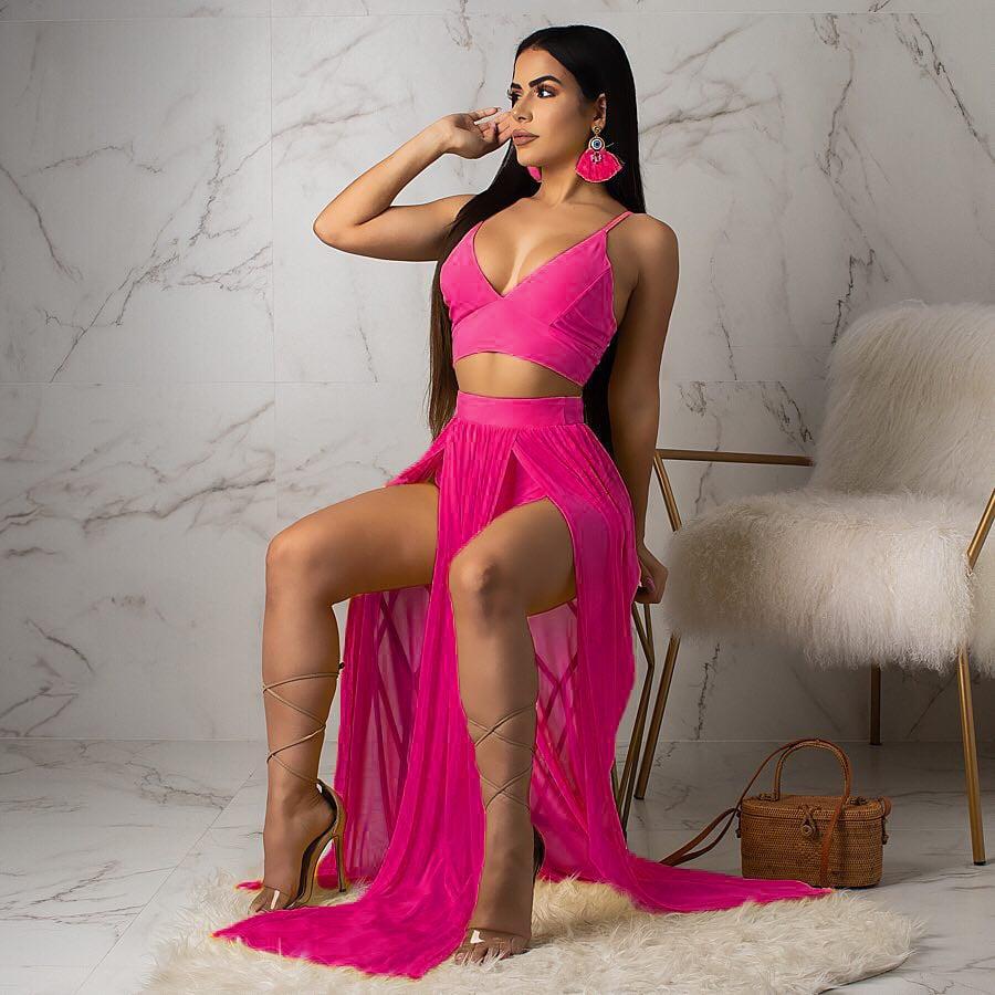 Image of Condole belt chiffon two-piece dress sexy dress