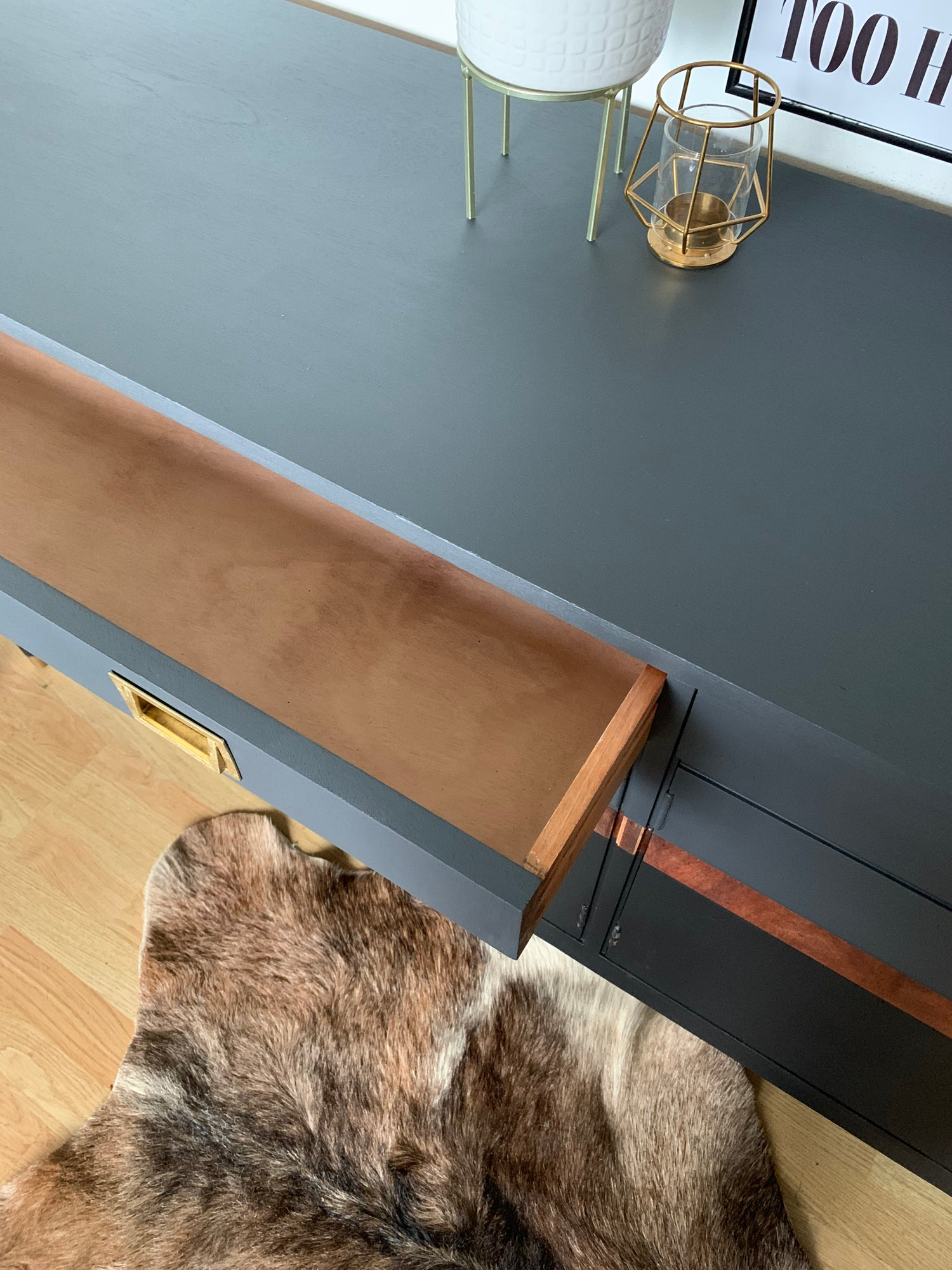 Image of Stunning black, grey and wooden sideboard