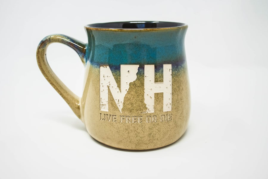 Image of Etched Pottery Mug- Blue/Beige