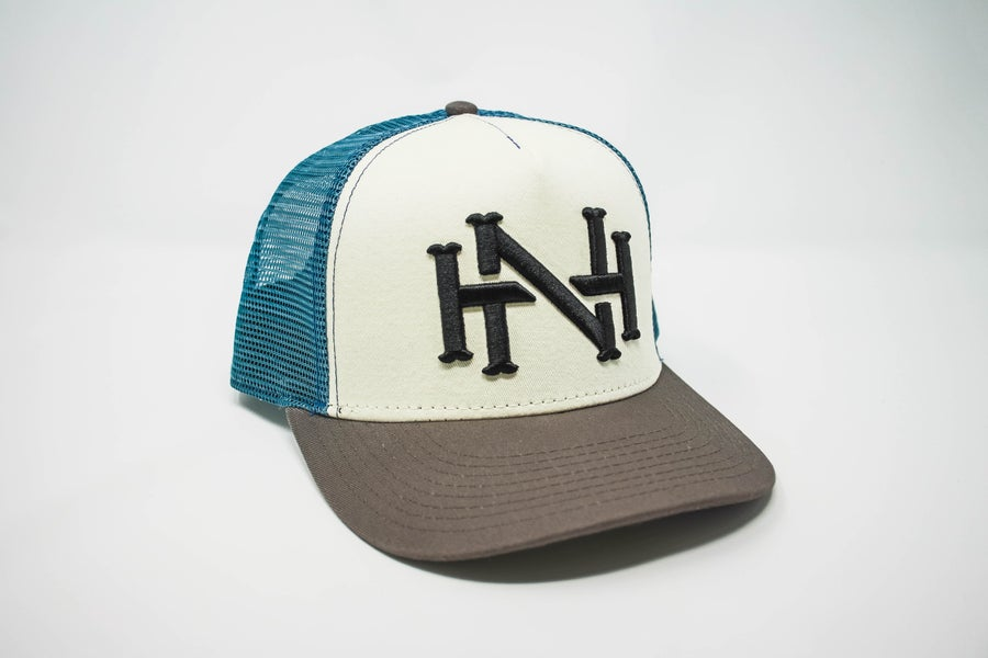 Image of NH Monogram Cap- Ivory/Charcoal/Slate Mesh