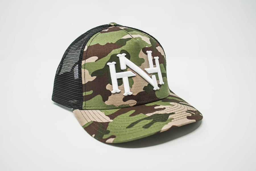 Image of NH Monogram Cap- Camo/Black Mesh