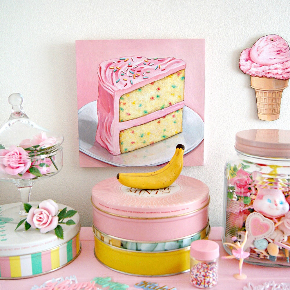 Image of  Pink Funfetti cake plaque