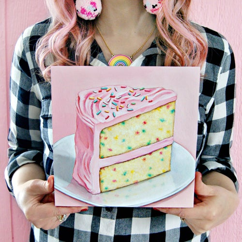Image of  Pink Funfetti cake plaque