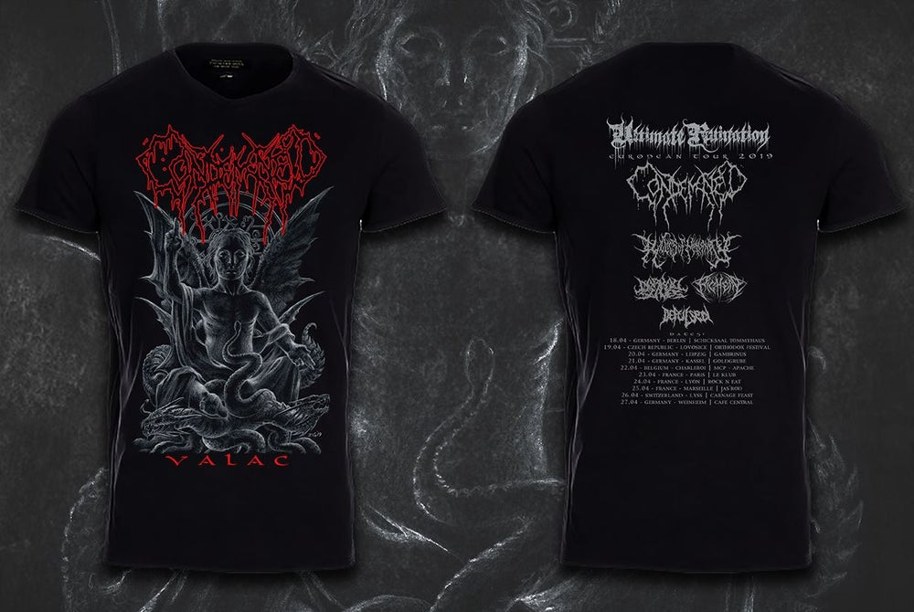 Image of CONDEMNED Valac T-Shirt (Ultimae Ruination European Tour Shirt 2019)