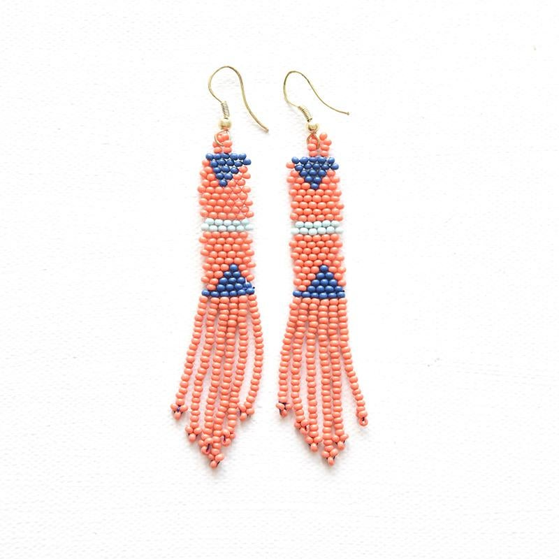 Image of Coral Petite Fringe Seed Bead Earring