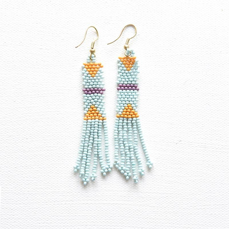Image of Light Blue Petite Fringe Seed Bead Earrings