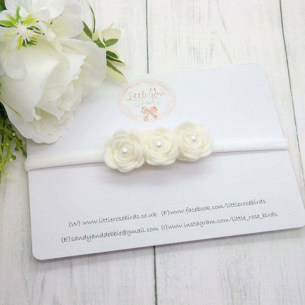 Image of White 3 Rose Headband with Pearls