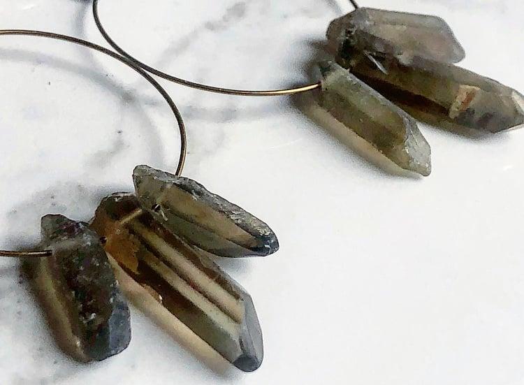 Image of smoky quartz + brass