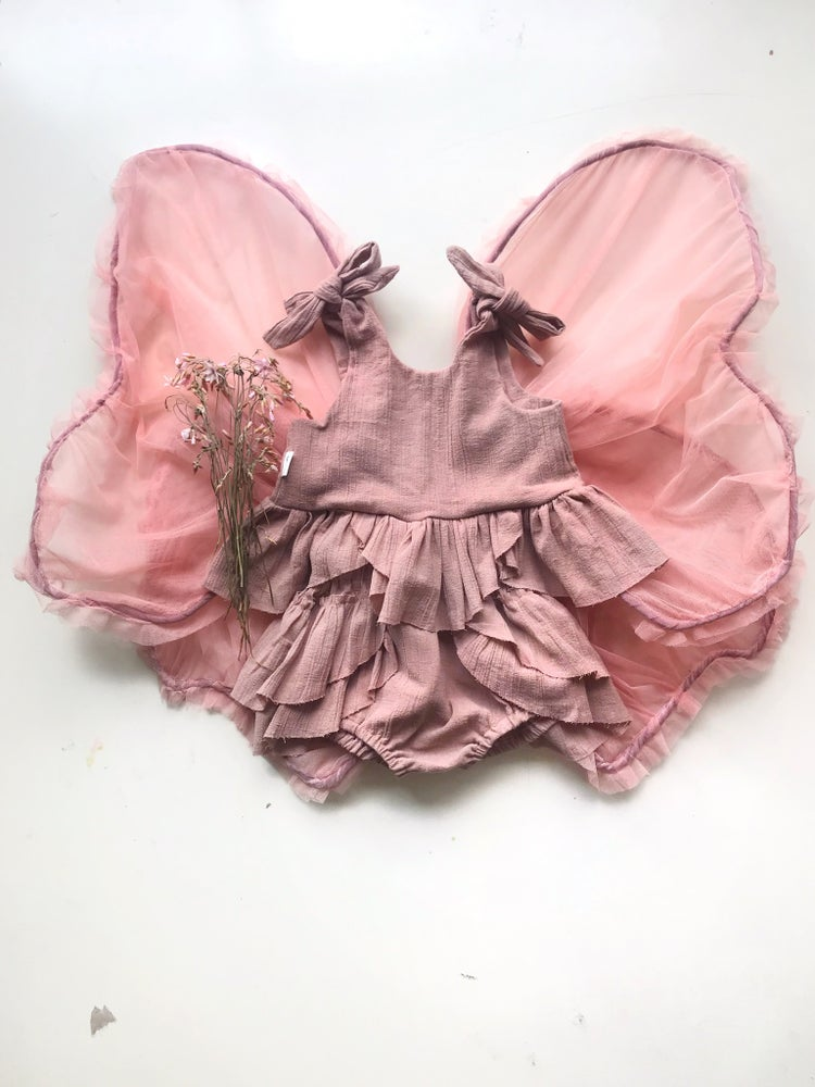 Image of petal crop + bloomer set, dusty pink