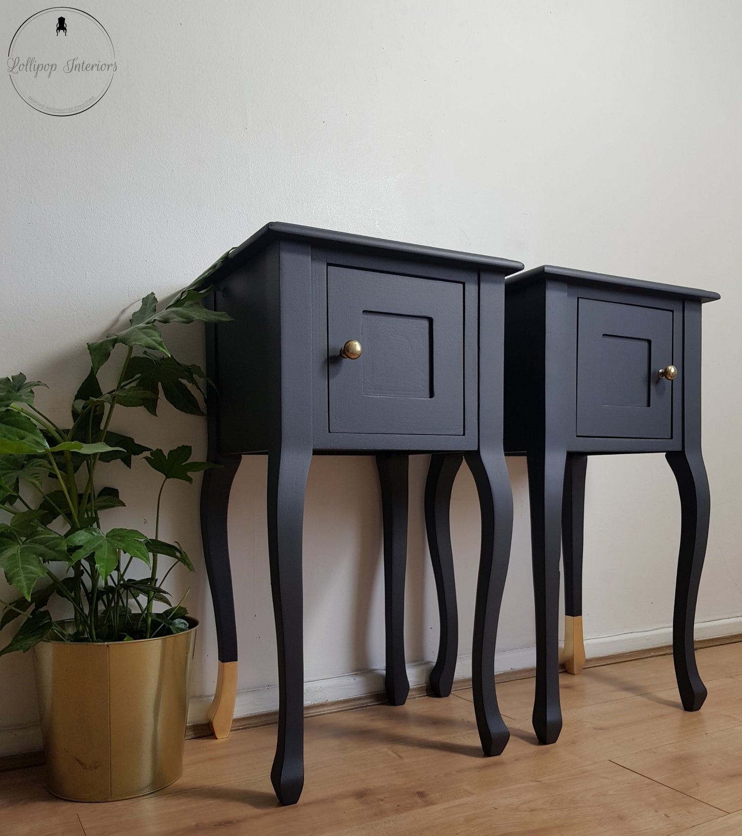 Image of Laura Ashley dark grey and gold bedside tables