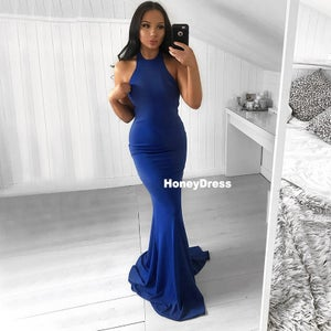 Image of Royal Blue Jersey High-Neck Mermaid Party Evening Dress Sweep Train Prom Gown