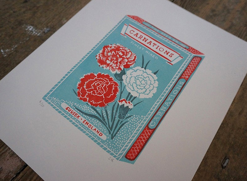 Image of January Print - Carnations