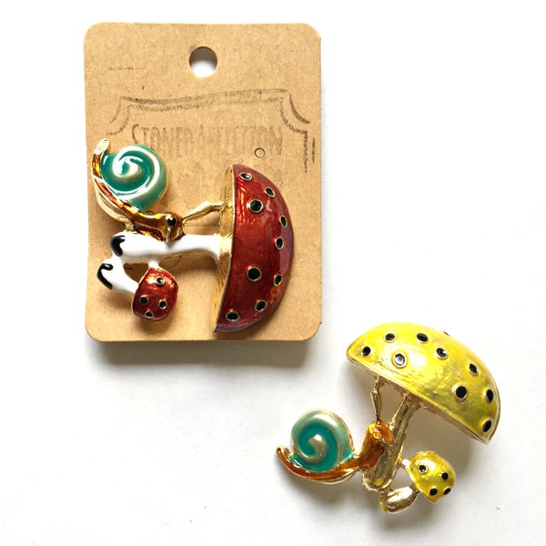 Image of Toadstool & Snail Enamel Brooch Pin
