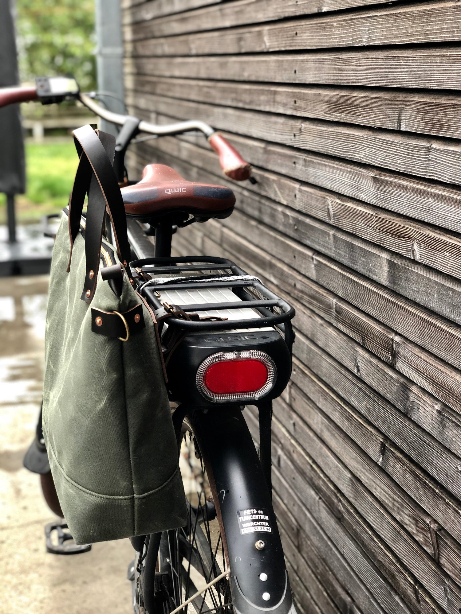 Image of Waxed canvas bicycle bag with zipper closure / tote bag / bike accessories
