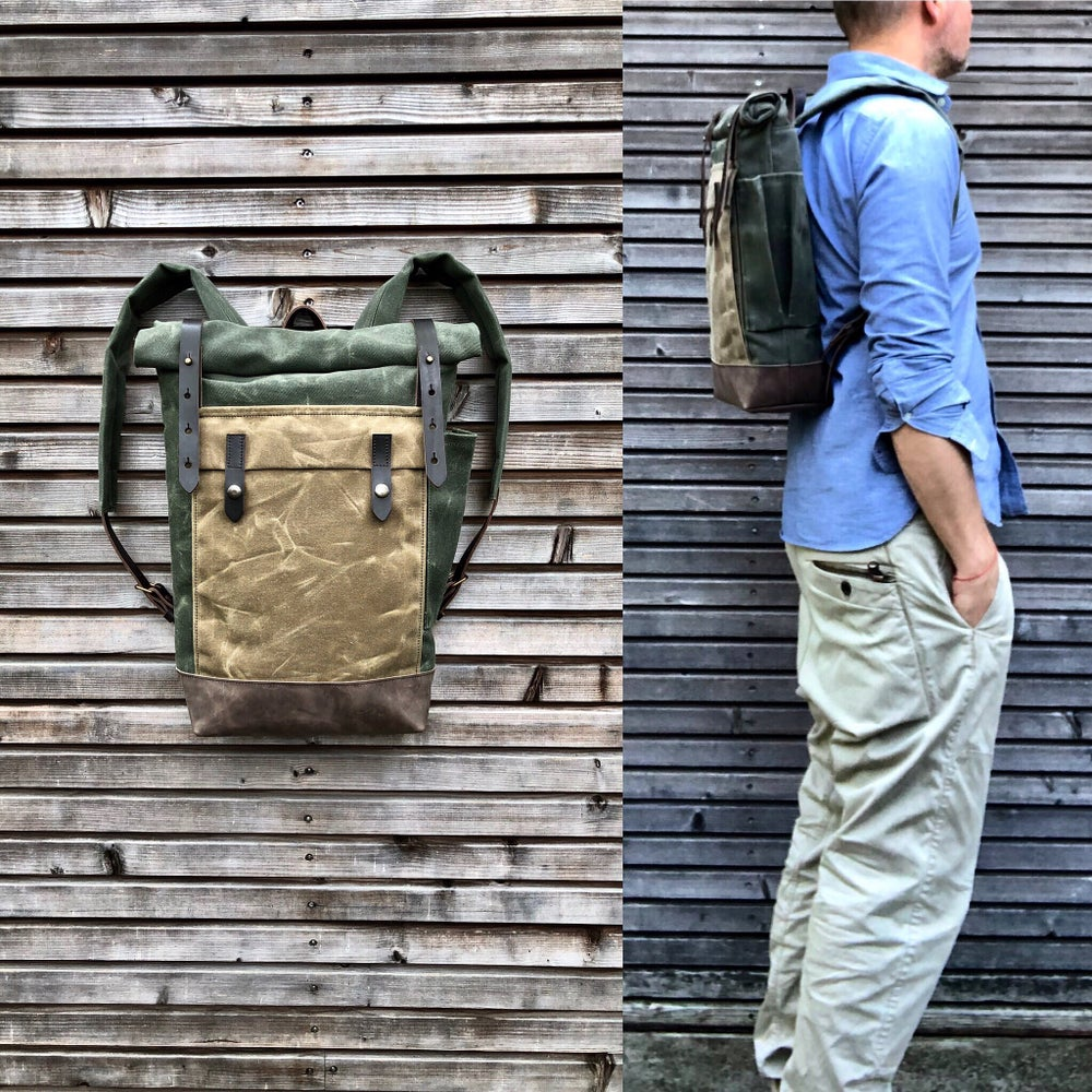 Image of Waxed canvas leather Backpack medium size / Commuter backpack / Hipster Backpack with roll up top an