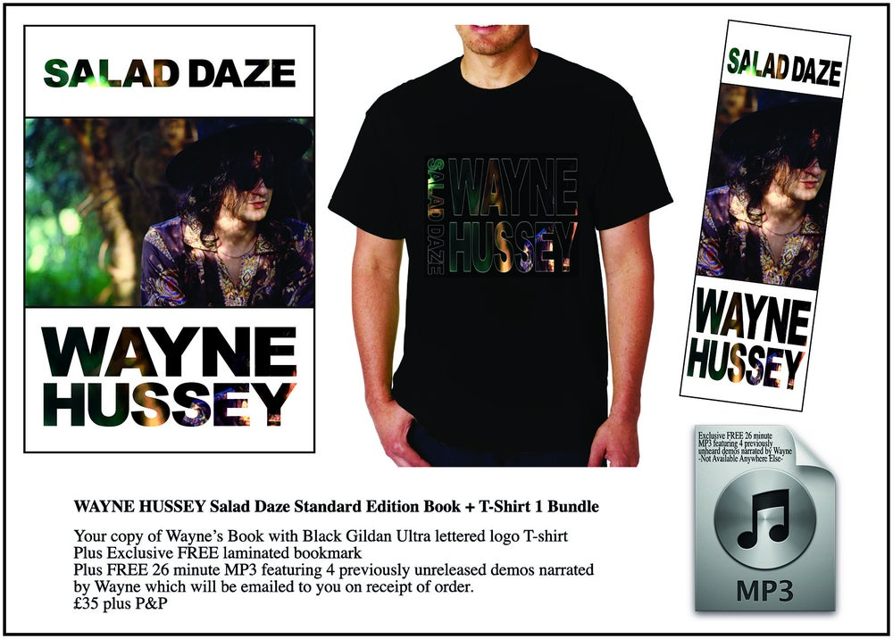 Image of WAYNE HUSSEY Standard Edition Book + Salad Daze Logo T-Shirt Bundle