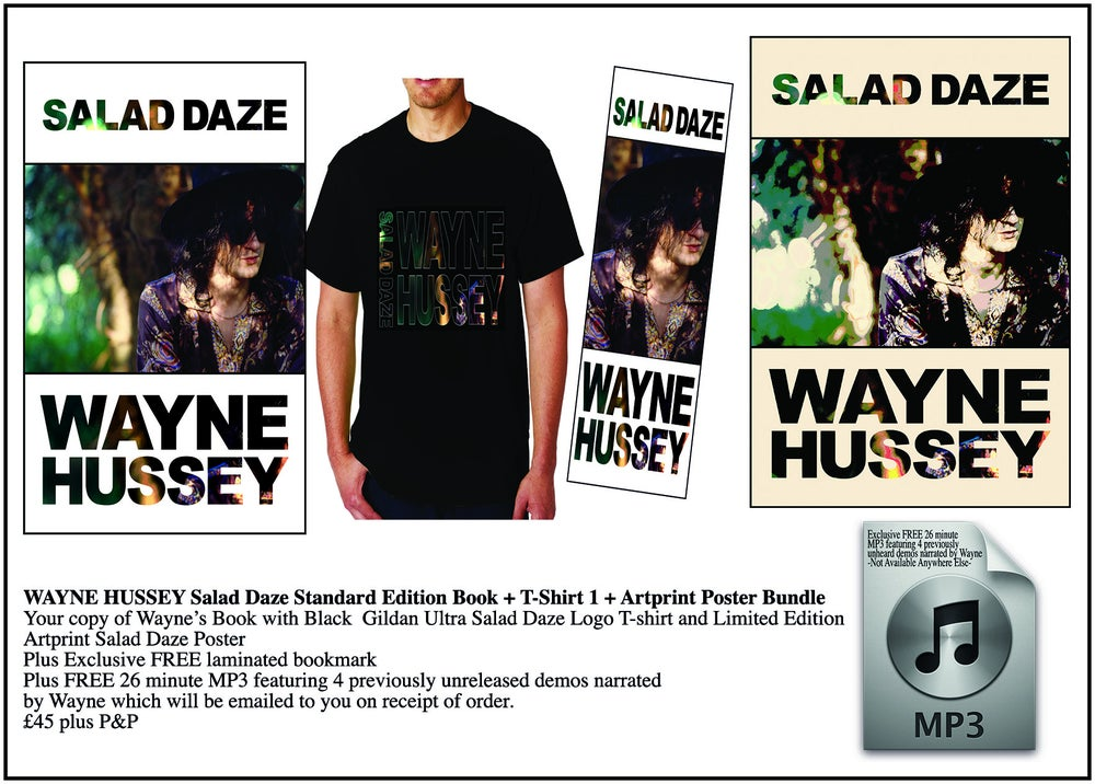 Image of WAYNE HUSSEY Standard Edition Book + Logo T-Shirt + Art Print Bundle