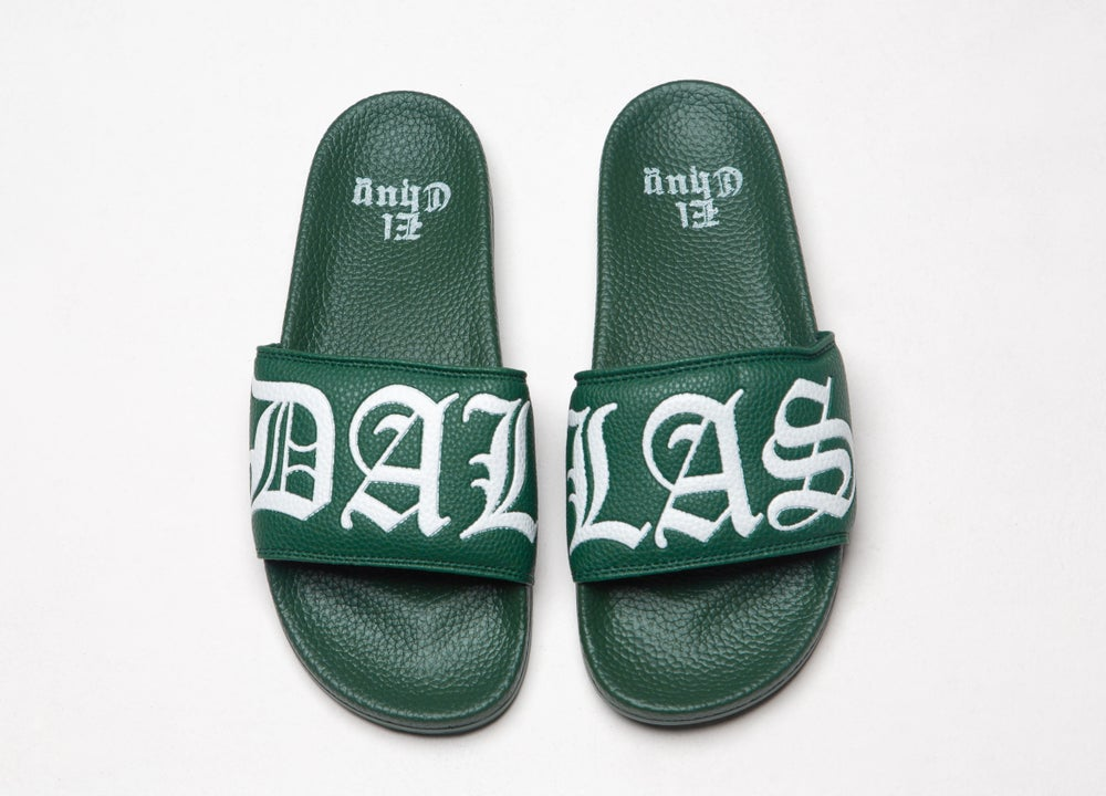 Image of DALLAS GREEN SLIDES SANDALS (LIMITED EDITION)